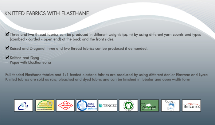 Knitted Fabrics with Elasthane